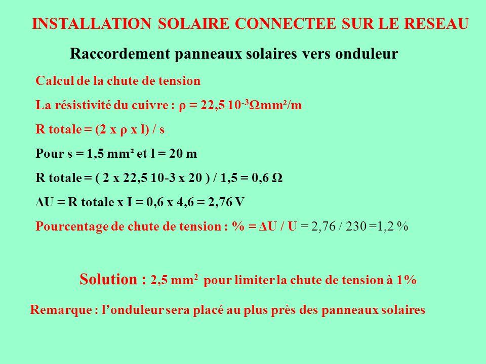 INSTALLATION SOLAIRE CONNECTEE SUR LE RESEAU Solution : 2,5 mm 2 pour limiter la chute de tension à 1% Raccordement panneaux solaires vers onduleur Re