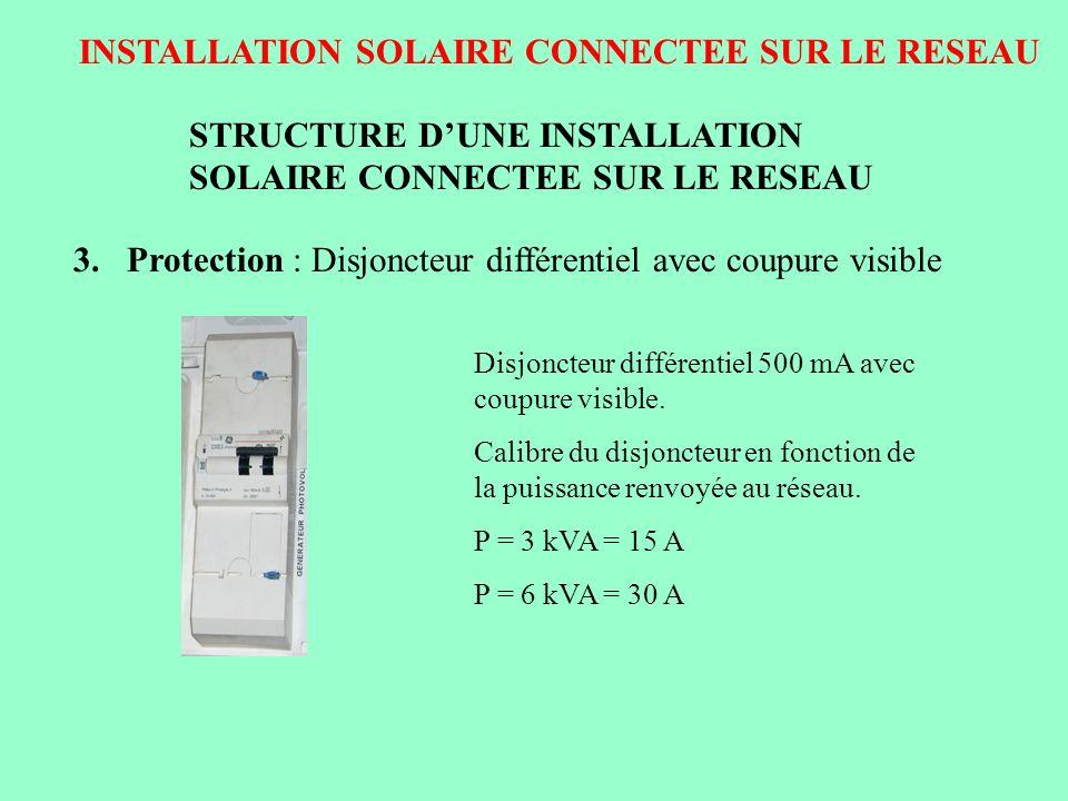 INSTALLATION SOLAIRE CONNECTEE SUR LE RESEAU STRUCTURE DUNE INSTALLATION SOLAIRE CONNECTEE SUR LE RESEAU 3.Protection : Disjoncteur différentiel avec