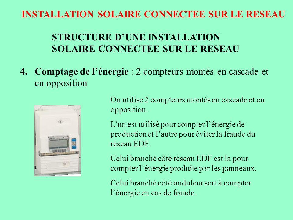 INSTALLATION SOLAIRE CONNECTEE SUR LE RESEAU STRUCTURE DUNE INSTALLATION SOLAIRE CONNECTEE SUR LE RESEAU 4.Comptage de lénergie : 2 compteurs montés e