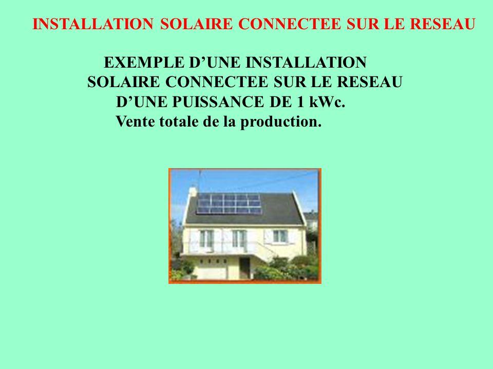 INSTALLATION SOLAIRE CONNECTEE SUR LE RESEAU Raccordement panneaux solaires vers onduleur Montage en série de panneaux solaires par paire Soit 15 panneaux solaires à mettre en série Tension = 260 V ( 15 x 17,30 V ) Puissance =1050 Wc ( 15 x 70 Wc) Caractéristiques panneaux solaires et de londuleur Tension dentrée maxi de londuleur : 400 V continu Tension de sortie de londuleur : 230 V alternatif Tension maxi dun panneau solaire : 17,30 V Puissance crête dun panneau solaire: 70 Wc