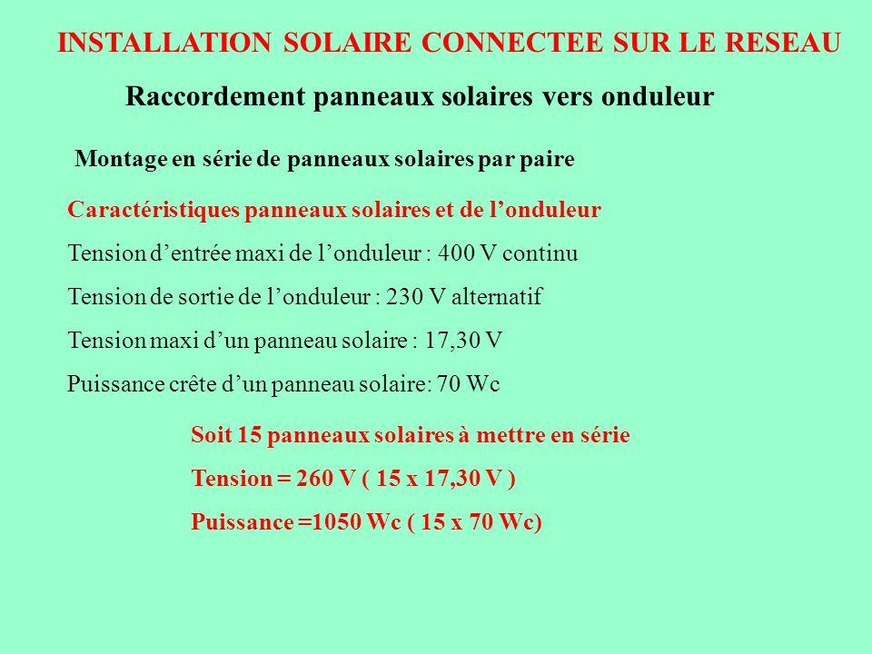 INSTALLATION SOLAIRE CONNECTEE SUR LE RESEAU Raccordement panneaux solaires vers onduleur Montage en série de panneaux solaires par paire Soit 15 pann