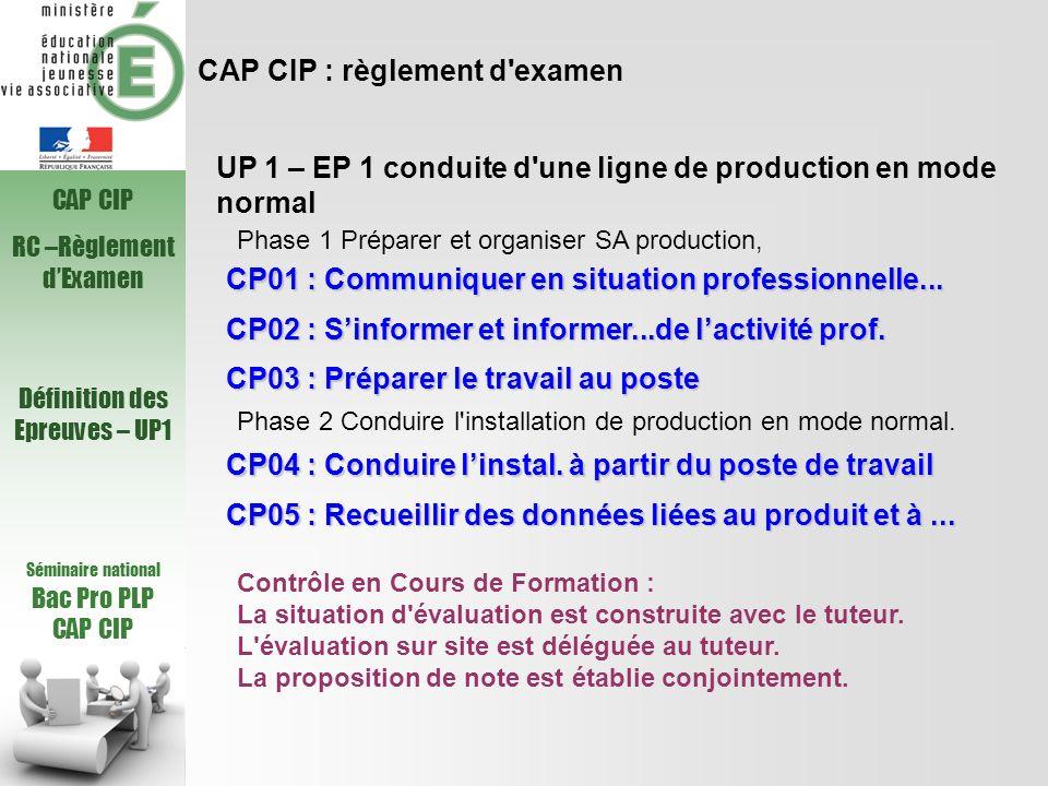 Séminaire national Bac Pro PLP CAP CIP UP 1 – EP 1 conduite d'une ligne de production en mode normal CP01 : Communiquer en situation professionnelle..