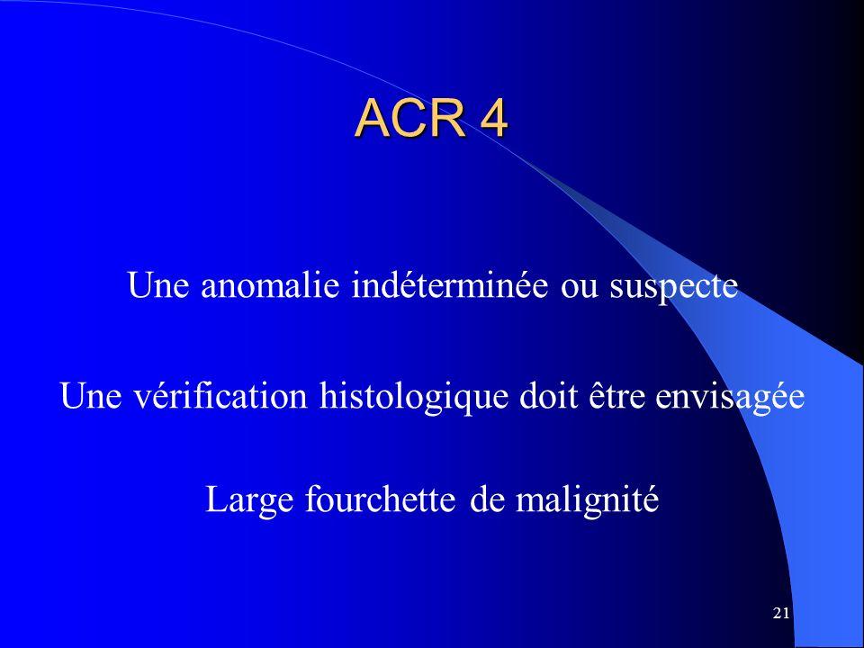 21 ACR 4 Une anomalie indéterminée ou suspecte Une vérification histologique doit être envisagée Large fourchette de malignité