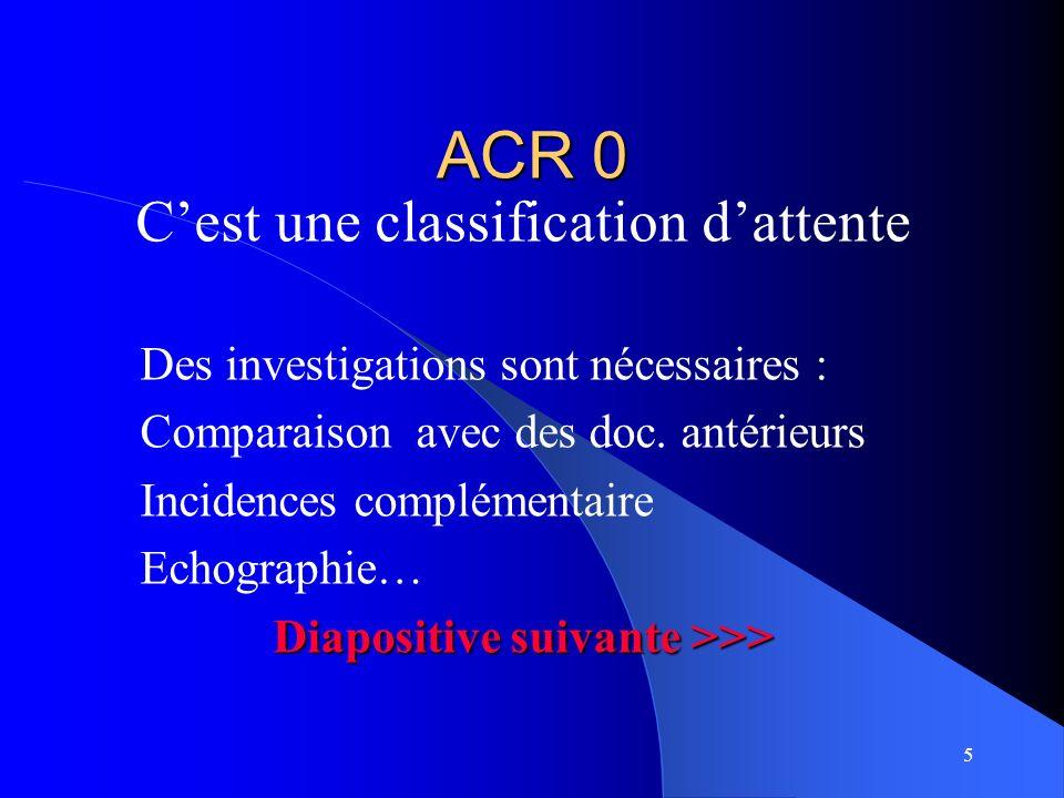 5 ACR 0 Cest une classification dattente Des investigations sont nécessaires : Comparaison avec des doc. antérieurs Incidences complémentaire Echograp