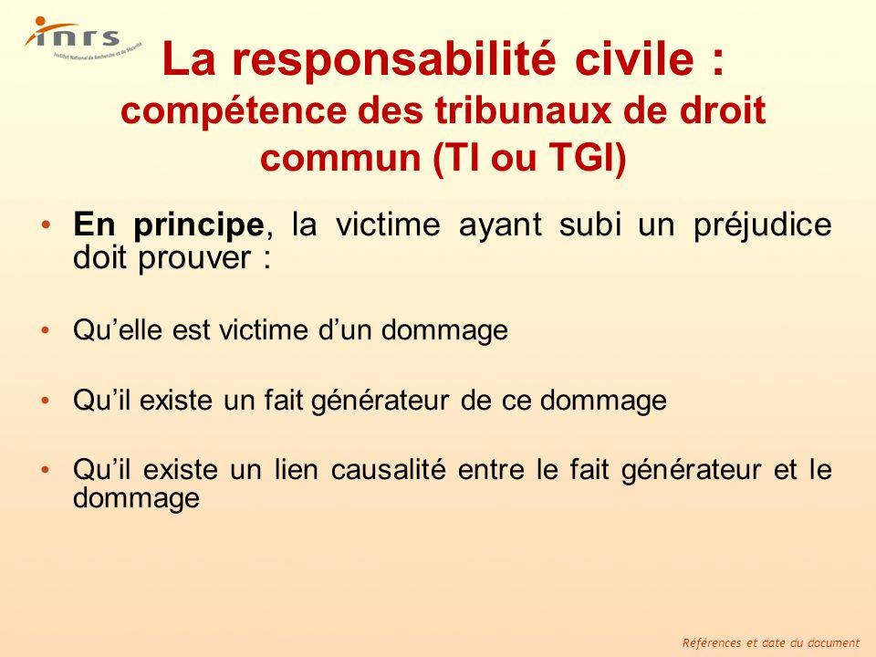 Références et date du document La responsabilité civile : compétence des tribunaux de droit commun (TI ou TGI) En principe, la victime ayant subi un p