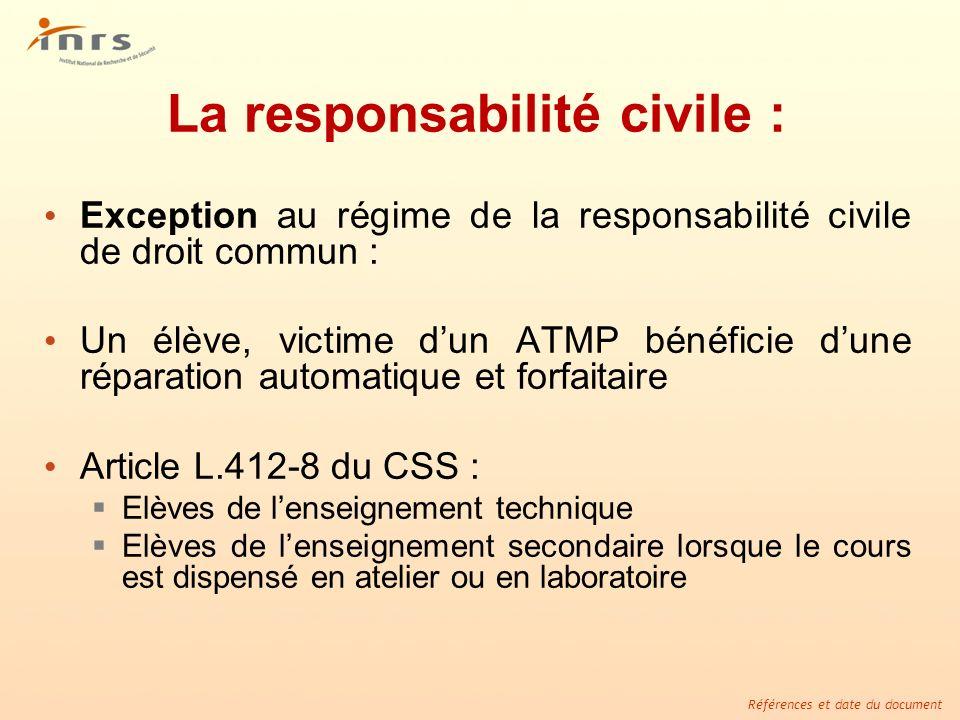 Références et date du document La responsabilité civile : Exception au régime de la responsabilité civile de droit commun : Un élève, victime dun ATMP