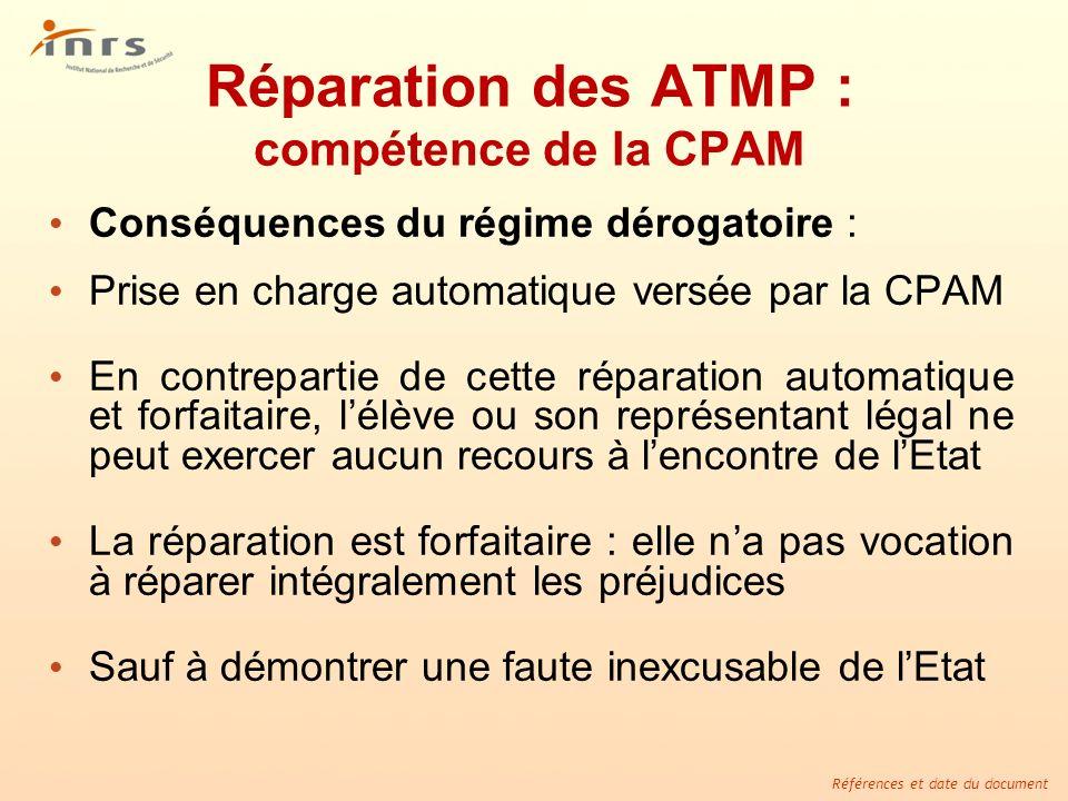 Références et date du document Réparation des ATMP : compétence de la CPAM Conséquences du régime dérogatoire : Prise en charge automatique versée par