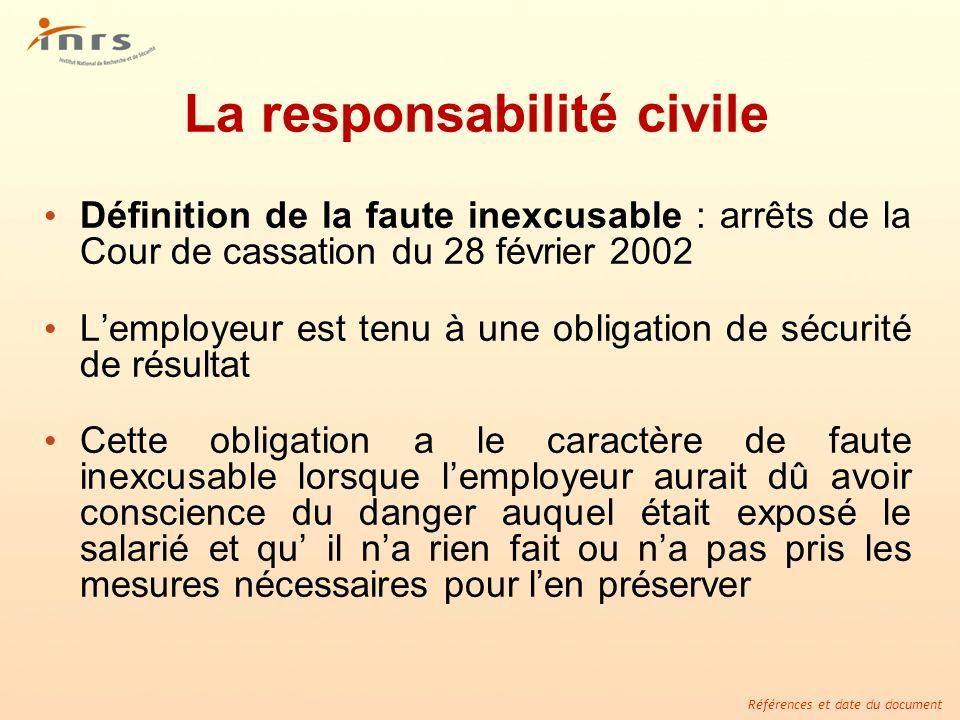 Références et date du document La responsabilité civile Définition de la faute inexcusable : arrêts de la Cour de cassation du 28 février 2002 Lemploy