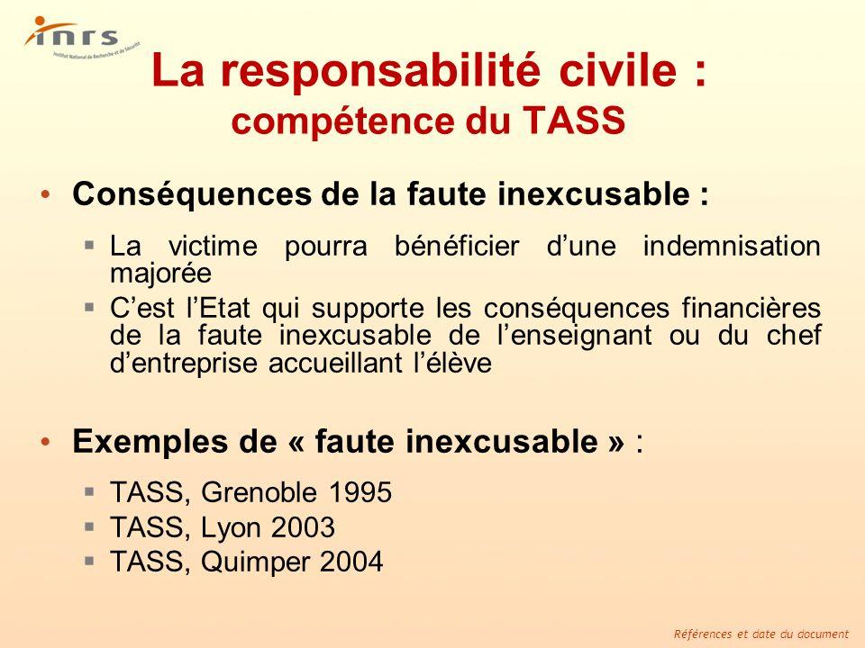 Références et date du document La responsabilité civile : compétence du TASS Conséquences de la faute inexcusable : La victime pourra bénéficier dune