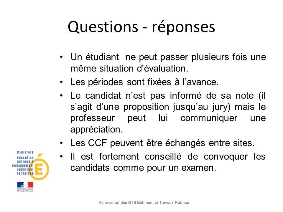 Questions - réponses Un étudiant ne peut passer plusieurs fois une même situation dévaluation. Les périodes sont fixées à lavance. Le candidat nest pa