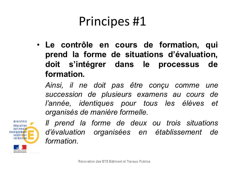 Principes #1 Le contrôle en cours de formation, qui prend la forme de situations dévaluation, doit sintégrer dans le processus de formation. Ainsi, il