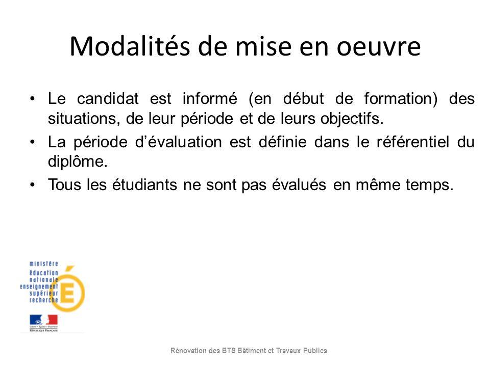 Modalités de mise en oeuvre Le candidat est informé (en début de formation) des situations, de leur période et de leurs objectifs. La période dévaluat