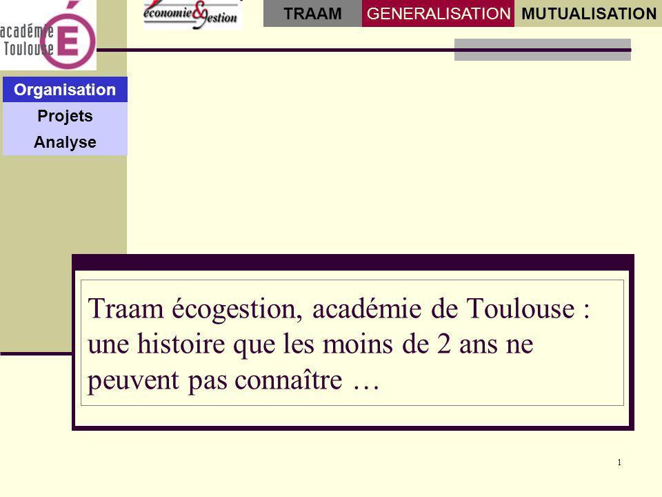 1 Organisation Projets Analyse GENERALISATIONMUTUALISATION TRAAM Traam écogestion, académie de Toulouse : une histoire que les moins de 2 ans ne peuvent pas connaître …