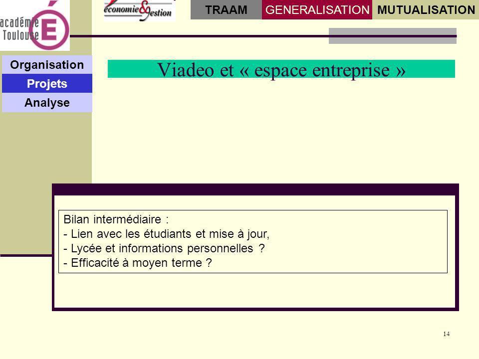 14 Viadeo et « espace entreprise » Organisation Projets Analyse GENERALISATIONMUTUALISATION TRAAM Bilan intermédiaire : - Lien avec les étudiants et m