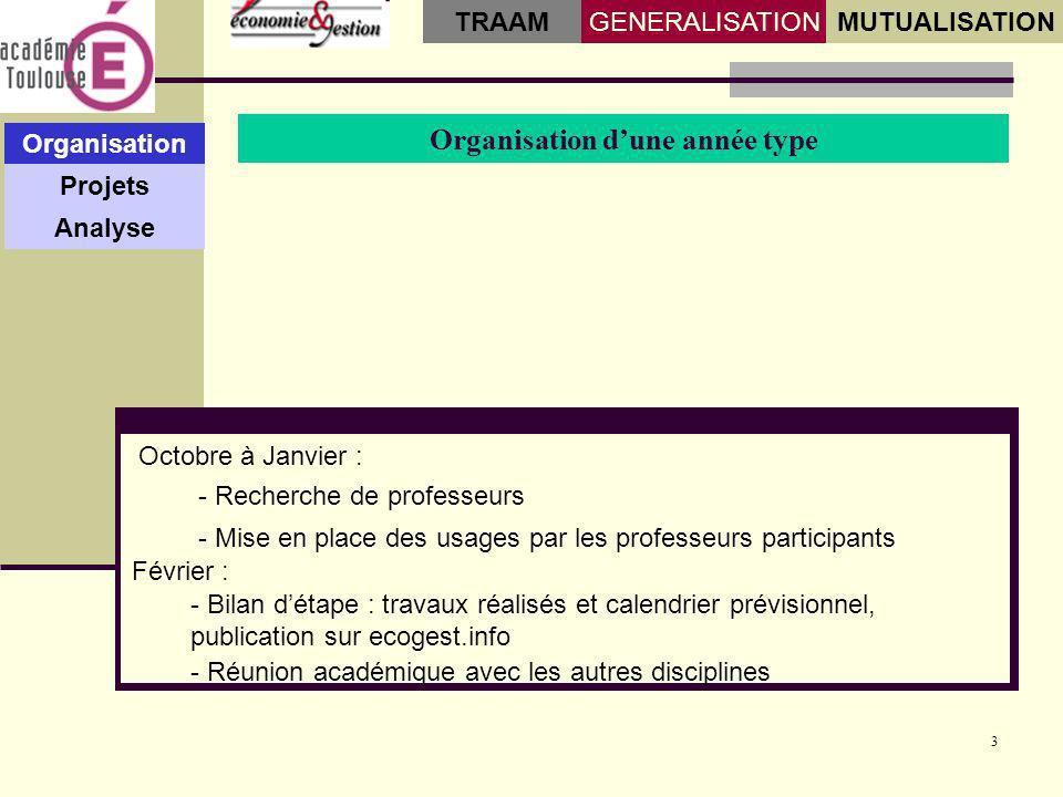 3 Organisation dune année type Organisation Projets Analyse GENERALISATIONMUTUALISATION TRAAM - Mise en place des usages par les professeurs participa