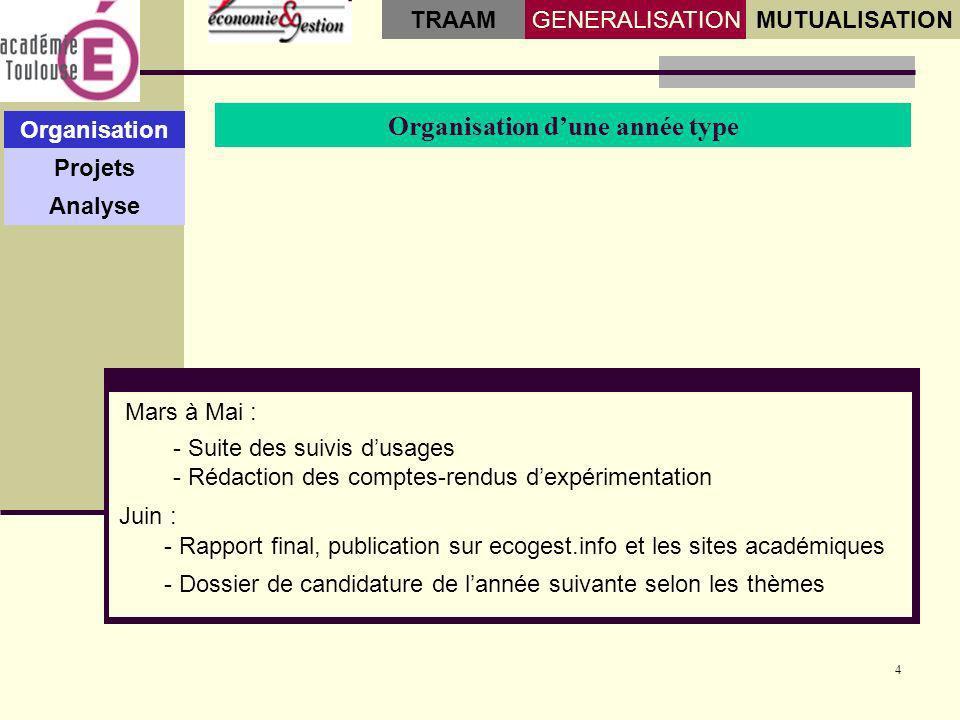 4 Organisation dune année type Organisation Projets Analyse GENERALISATIONMUTUALISATION TRAAM - Suite des suivis dusages - Rédaction des comptes-rendu