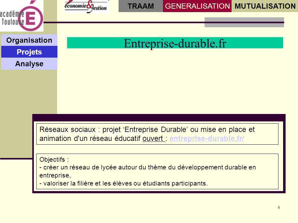 6 Entreprise-durable.fr Organisation Projets Analyse GENERALISATIONMUTUALISATION TRAAM Objectif : créer et faire vivre un Réseaux sociaux : projet Ent