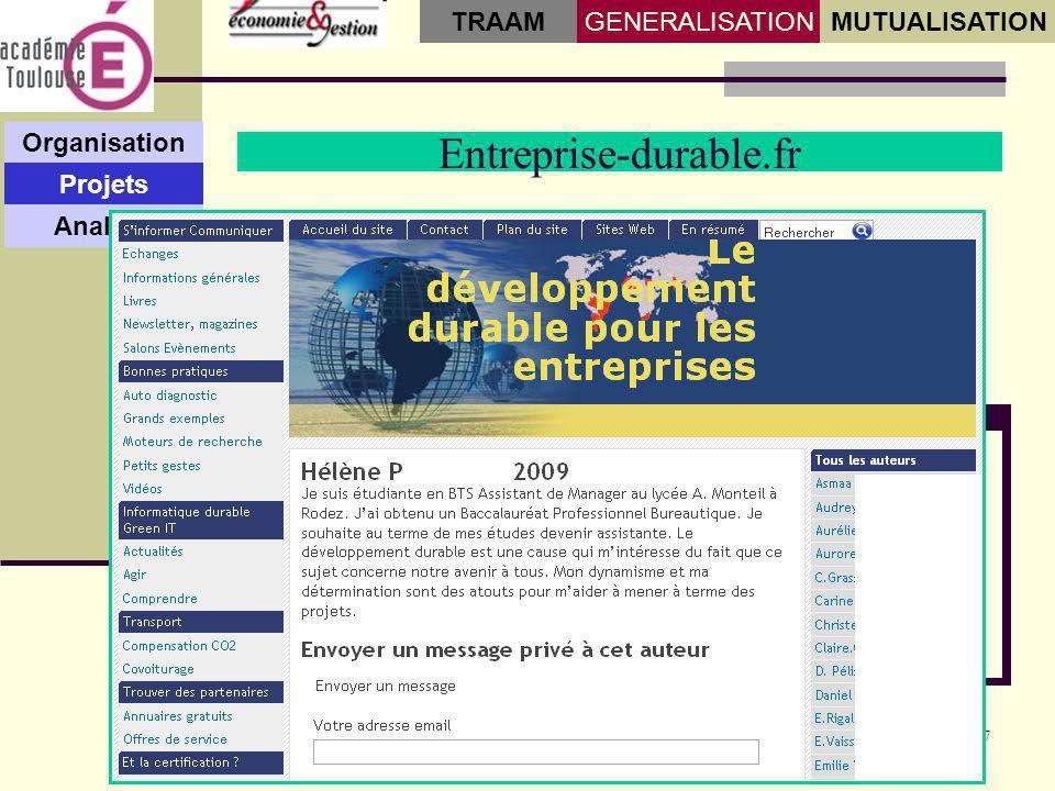 7 Entreprise-durable.fr Organisation Projets Analyse GENERALISATIONMUTUALISATION TRAAM