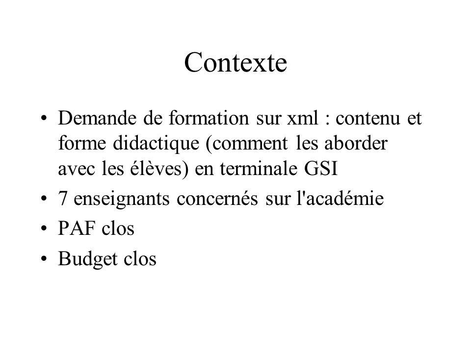 Contexte Demande de formation sur xml : contenu et forme didactique (comment les aborder avec les élèves) en terminale GSI 7 enseignants concernés sur l académie PAF clos Budget clos