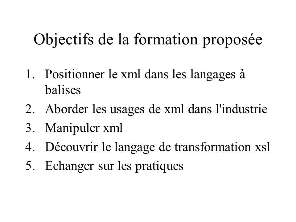 Objectifs de la formation proposée 1.Positionner le xml dans les langages à balises 2.Aborder les usages de xml dans l industrie 3.Manipuler xml 4.Découvrir le langage de transformation xsl 5.Echanger sur les pratiques
