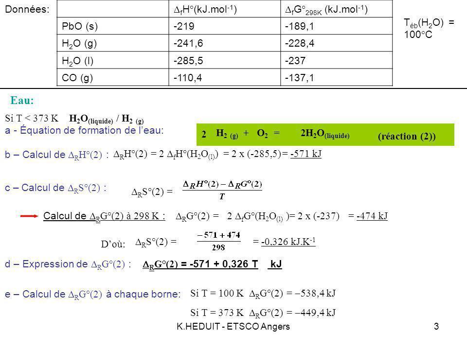 K.HEDUIT - ETSCO Angers4 H 2 (g) + O 2 = H 2 O (g) Eau: H 2 O (g) / H 2 (g) Données: f H°(kJ.mol -1 ) f G° 298K (kJ.mol -1 ) PbO (s)-219-189,1 H 2 O (g)-241,6-228,4 H 2 O (l)-285,5-237 CO (g)-110,4-137,1 T éb (H 2 O) = 100°C Si T > 373 K e – Calcul de R G°(2) à chaque borne: 2 2 (réaction (2)) b – Calcul de R H°(2) : R H°(2) = 2 f H°(H 2 O (g) ) = 2 x (-241,6)= -483,2 kJ c – Calcul de R S°(2) : R S°(2) = Calcul de R G°(2) à 298 K : R G°(2) = R G°(2) = -483,2 + 0,089 T kJ d – Expression de R G°(2) : Si T = 373 K R G°(2) = kJ Si T = 1000 K R G°(2) = kJ a - Équation de formation de leau: 2 f G°(H 2 O (g) ) = 2 x (-228,4)= -456,8 kJ Doù: R S°(2) = = -0,089 kJ.K -1 R G°(2)