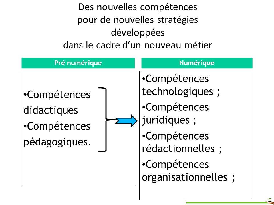 Des nouvelles compétences pour de nouvelles stratégies développées dans le cadre dun nouveau métier Compétences didactiques Compétences pédagogiques.