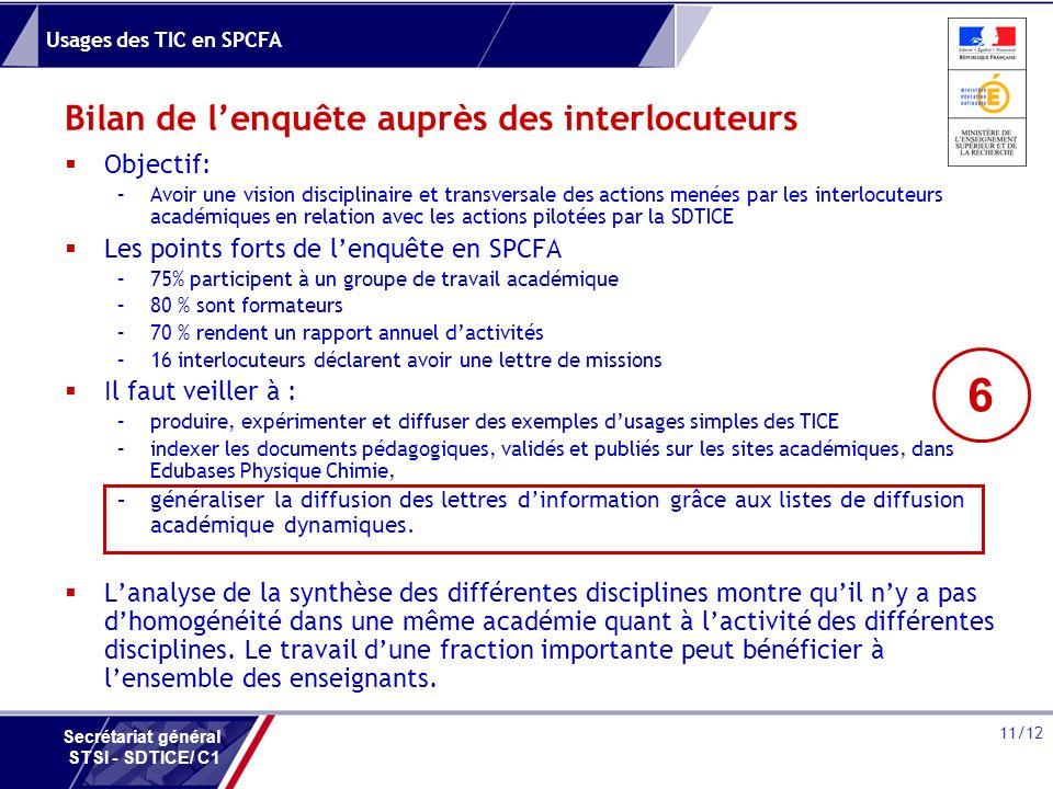 Usages des TIC en SPCFA 11/12 Secrétariat général STSI - SDTICE/ C1 Bilan de lenquête auprès des interlocuteurs Objectif: –Avoir une vision disciplina