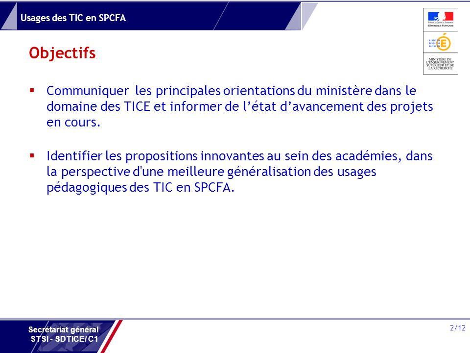 Usages des TIC en SPCFA 2/12 Secrétariat général STSI - SDTICE/ C1 Objectifs Communiquer les principales orientations du ministère dans le domaine des