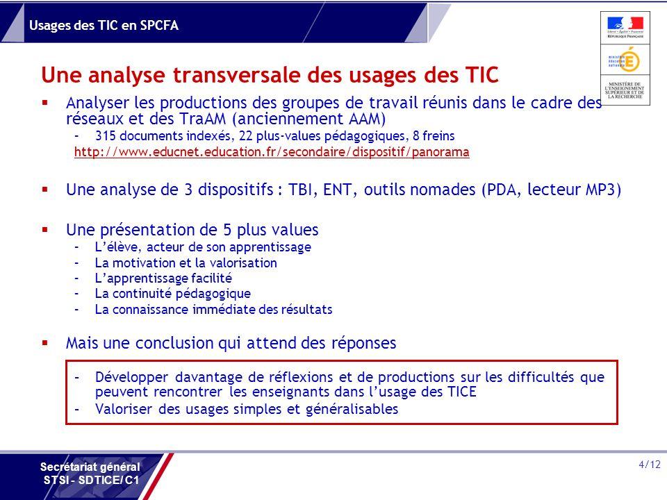 Usages des TIC en SPCFA 4/12 Secrétariat général STSI - SDTICE/ C1 Une analyse transversale des usages des TIC Analyser les productions des groupes de