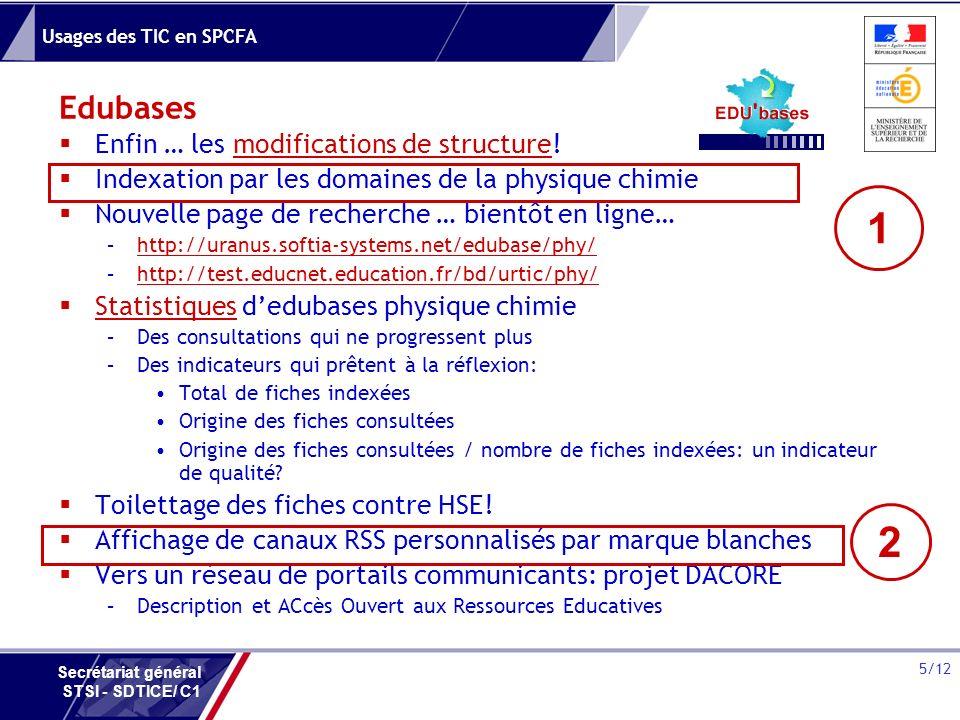 Usages des TIC en SPCFA 5/12 Secrétariat général STSI - SDTICE/ C1 Edubases Enfin … les modifications de structure!modifications de structure Indexati