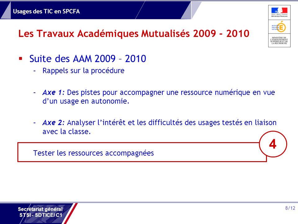 Usages des TIC en SPCFA 8/12 Secrétariat général STSI - SDTICE/ C1 Les Travaux Académiques Mutualisés 2009 - 2010 Suite des AAM 2009 – 2010 –Rappels s