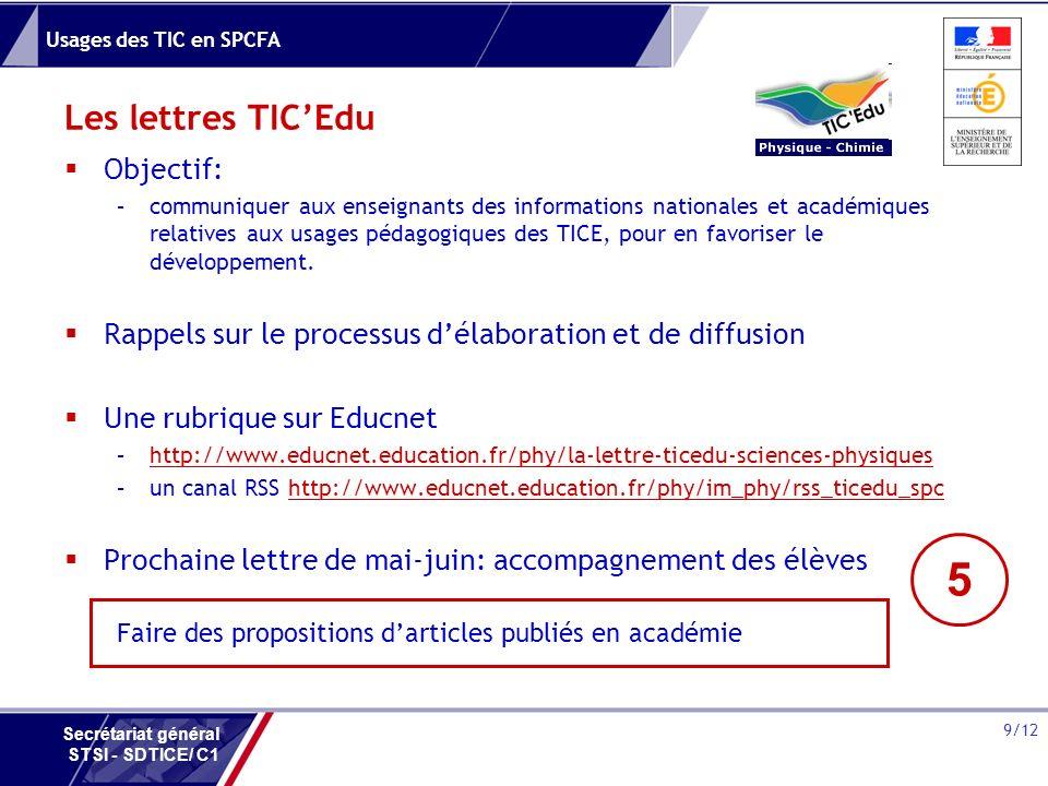 Usages des TIC en SPCFA 9/12 Secrétariat général STSI - SDTICE/ C1 Les lettres TICEdu Objectif: –communiquer aux enseignants des informations national