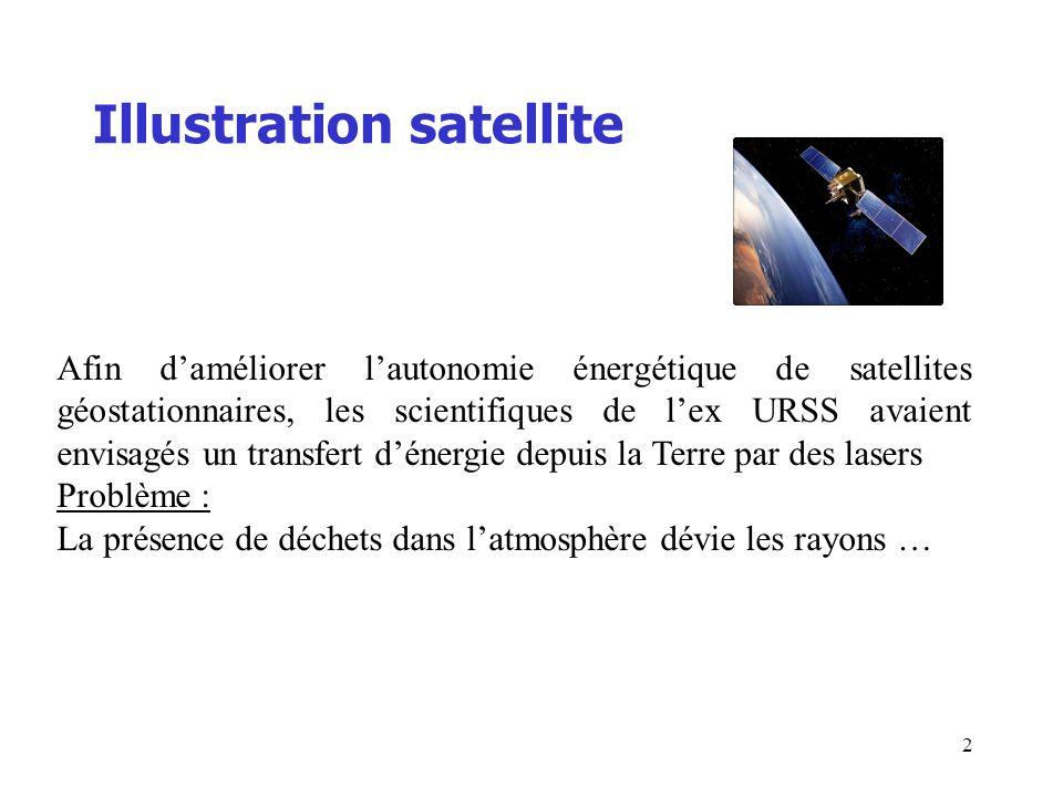 Lalimentation des satellites =60m 35786 km Espace Atmosphère Terre Laser 100 kW orbite géostationnaire L orbite géosynchrone, abrégée GSO (geosynchronous orbit), est une orbite géocentrique sur laquelle un satellite se déplace dans le même sens que la terre (d ouest en est) et dont la période orbitale est égale à la période de rotation de la Terre (soit 23h564).