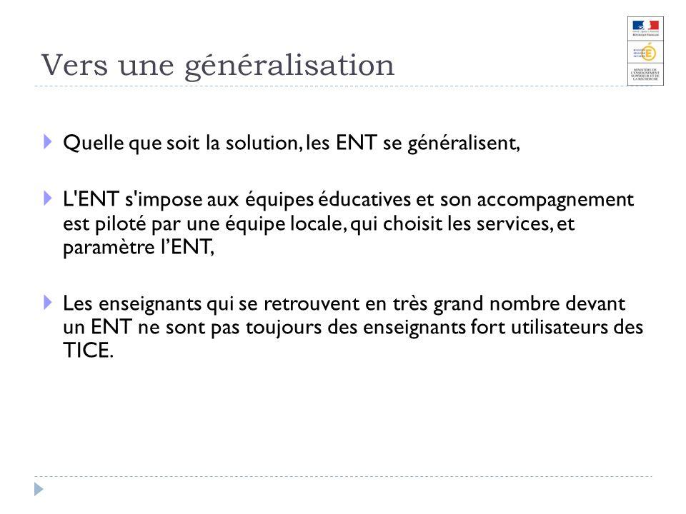 Vers une généralisation Quelle que soit la solution, les ENT se généralisent, L'ENT s'impose aux équipes éducatives et son accompagnement est piloté p