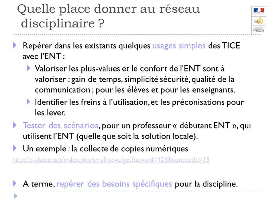 Quelle place donner au réseau disciplinaire ? Repérer dans les existants quelques usages simples des TICE avec l'ENT : Valoriser les plus-values et le