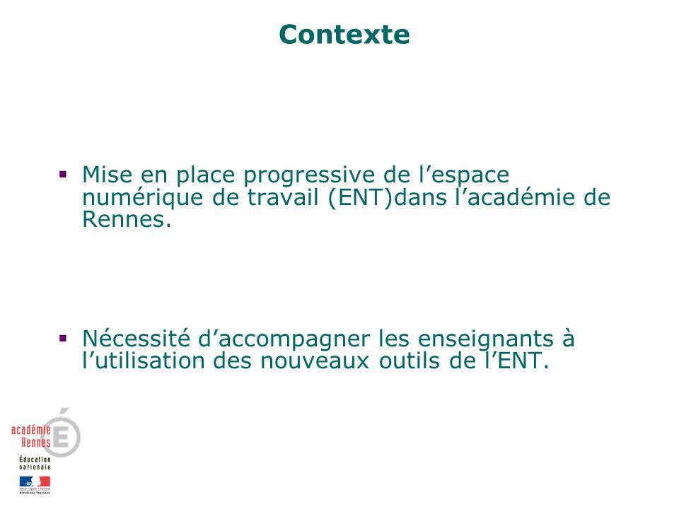 Contexte Mise en place progressive de lespace numérique de travail (ENT)dans lacadémie de Rennes.