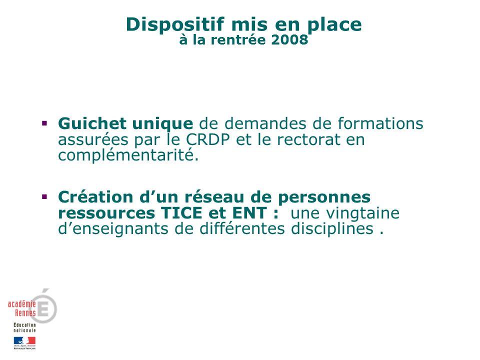 Dispositif mis en place à la rentrée 2008 Guichet unique de demandes de formations assurées par le CRDP et le rectorat en complémentarité.