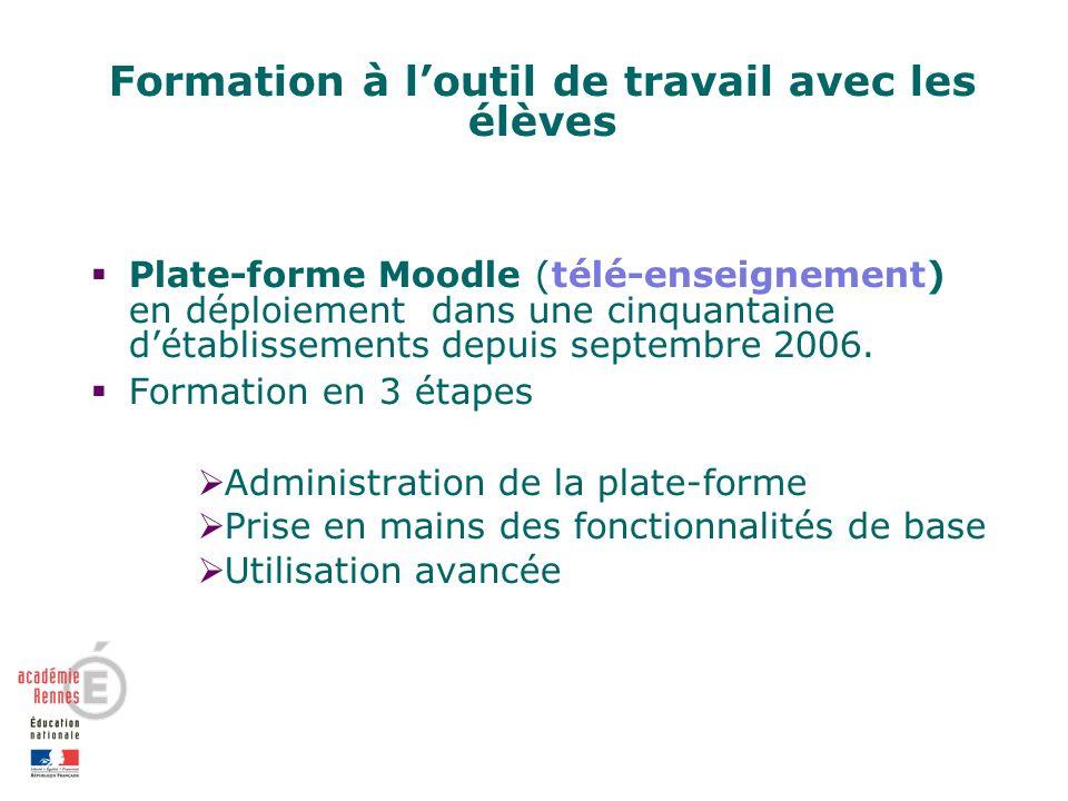 Formation à loutil de travail avec les élèves Plate-forme Moodle (télé-enseignement) en déploiement dans une cinquantaine détablissements depuis septembre 2006.