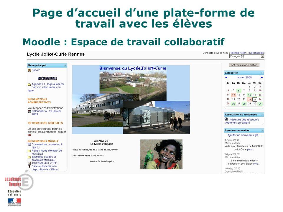 Page daccueil dune plate-forme de travail avec les élèves Moodle : Espace de travail collaboratif
