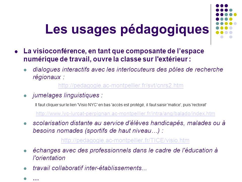 Les usages pédagogiques La visioconférence, en tant que composante de lespace numérique de travail, ouvre la classe sur l'extérieur : dialogues intera