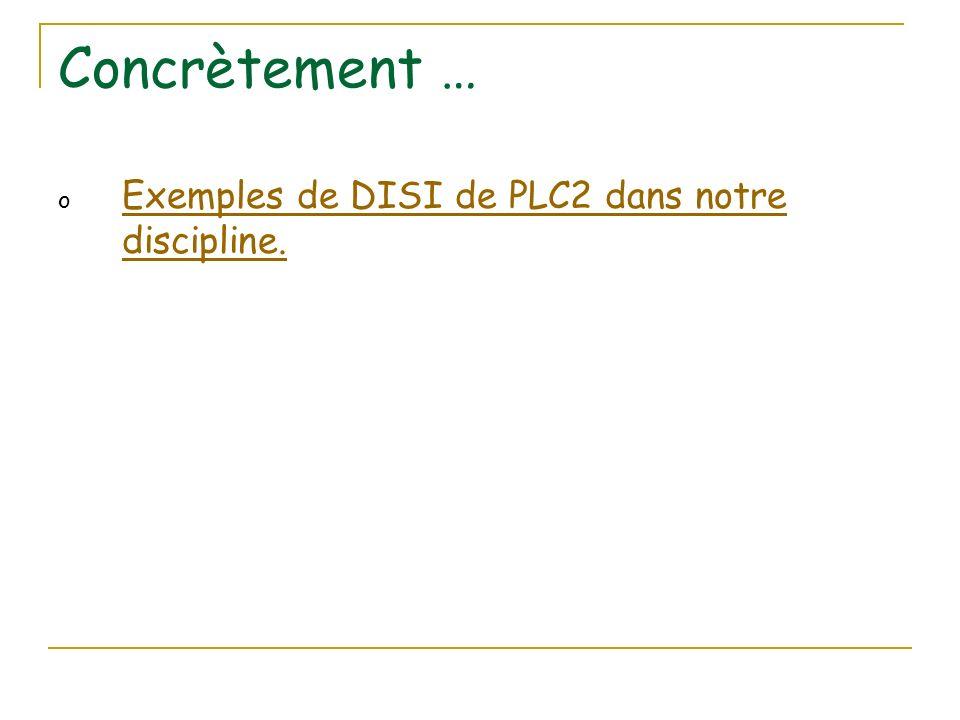 Concrètement … o Exemples de DISI de PLC2 dans notre discipline.