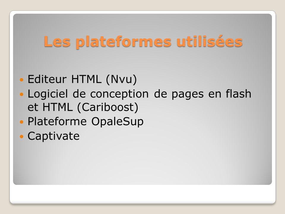 Les plateformes utilisées Editeur HTML (Nvu) Logiciel de conception de pages en flash et HTML (Cariboost) Plateforme OpaleSup Captivate