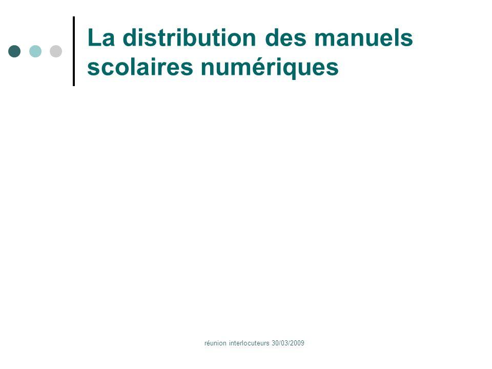 réunion interlocuteurs 30/03/2009 La distribution des manuels scolaires numériques