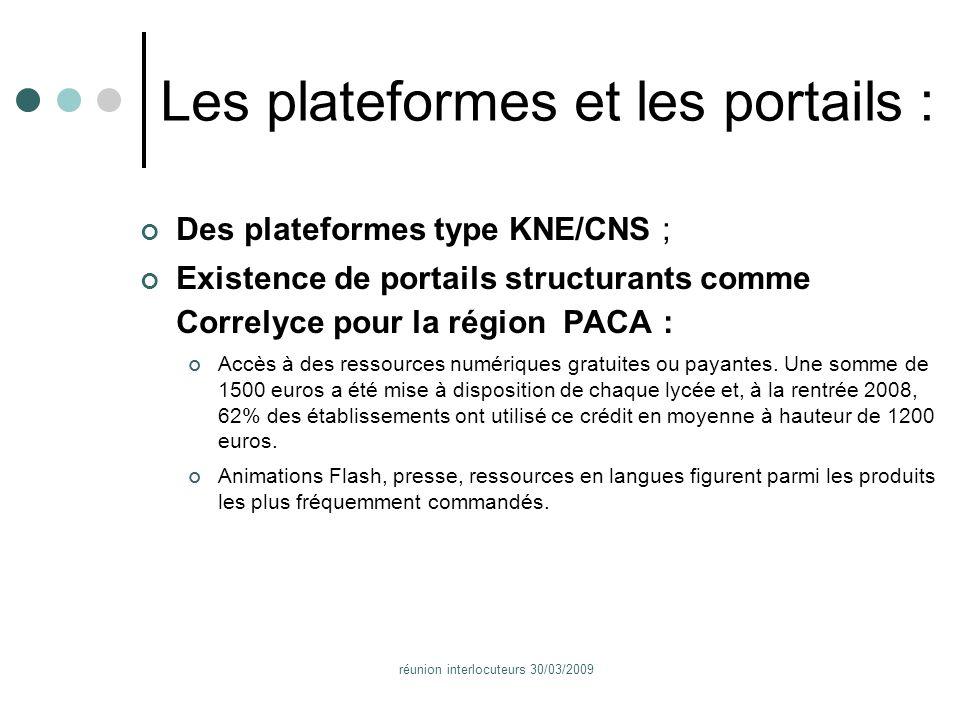réunion interlocuteurs 30/03/2009 Les plateformes et les portails : Des plateformes type KNE/CNS ; Existence de portails structurants comme Correlyce pour la région PACA : Accès à des ressources numériques gratuites ou payantes.