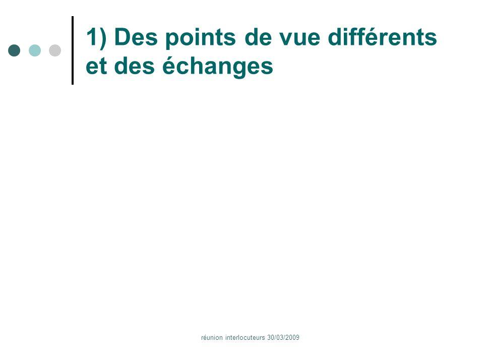 réunion interlocuteurs 30/03/2009 1) Des points de vue différents et des échanges