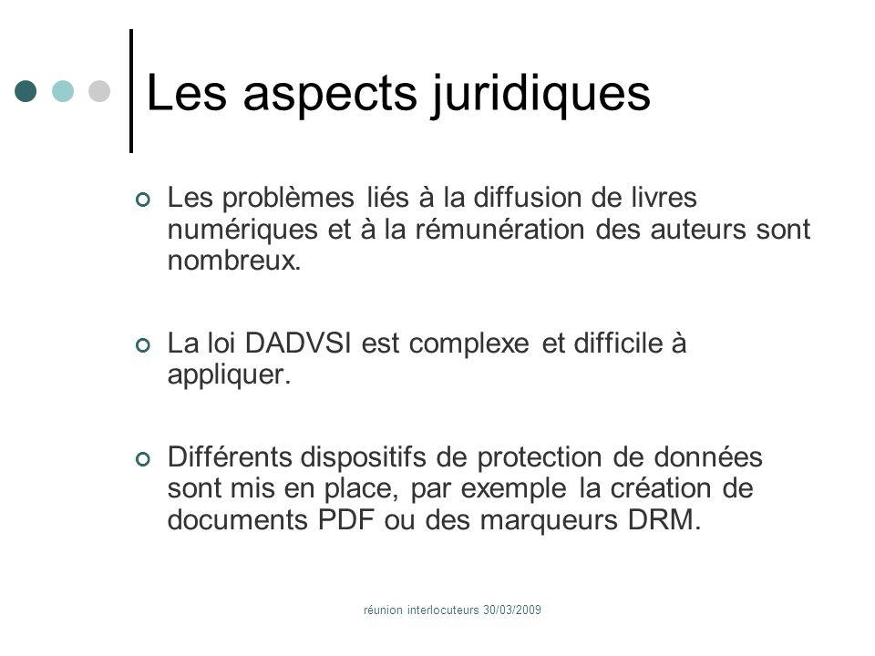 réunion interlocuteurs 30/03/2009 Les aspects juridiques Les problèmes liés à la diffusion de livres numériques et à la rémunération des auteurs sont nombreux.