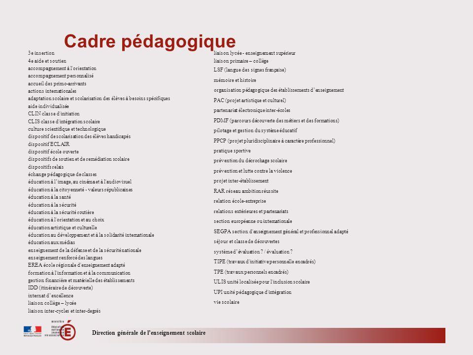Direction générale de lenseignement scolaire Cadre pédagogique 3e insertion 4e aide et soutien accompagnement à l'orientation accompagnement personnal
