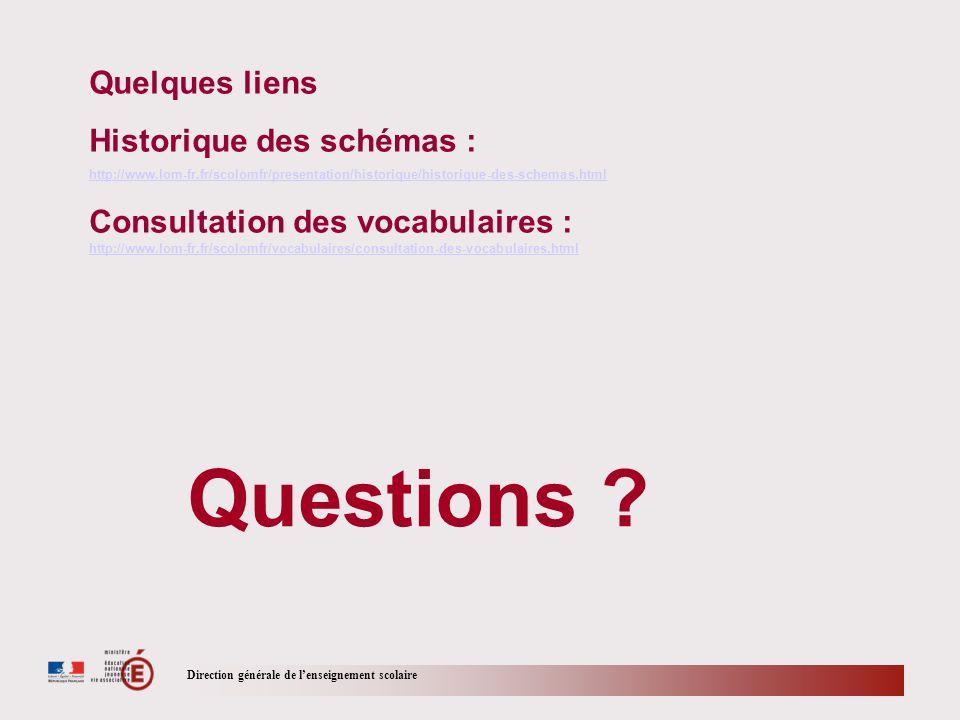 Direction générale de lenseignement scolaire Questions ? Quelques liens Historique des schémas : http://www.lom-fr.fr/scolomfr/presentation/historique