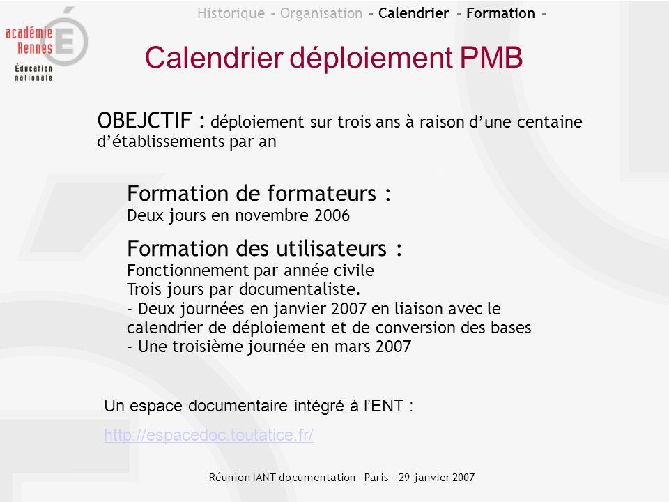 OBEJCTIF : déploiement sur trois ans à raison dune centaine détablissements par an Calendrier déploiement PMB Historique - Organisation – Calendrier –