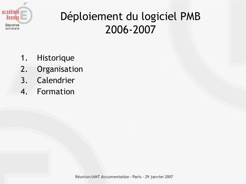 Déploiement du logiciel PMB 2006-2007 1.Historique 2.Organisation 3.Calendrier 4.Formation Réunion IANT documentation – Paris – 29 janvier 2007
